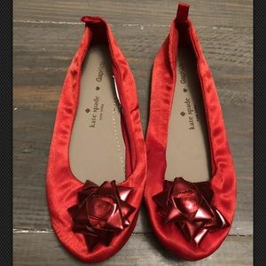 Kate Spade Gap Kids Size 1 Red Satin Flats Leather
